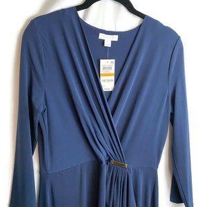 Charter Club Faux Surplice Wrap Dress Blue Small